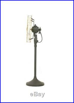 12 Blade Electric Floor Stand Fan Oscillating Vintage Metal Brass Antique style