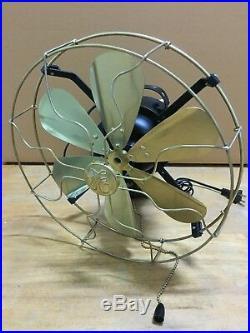 12 Blades Brass Wall Mount Fan Oscillating Work 3 Speed Vintage Antique style