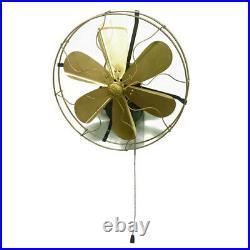 14 Blades Brass Wall Mount Fan Oscillating Work 3 Speed Vintage Antique style