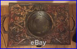 1800's Antique Cast Iron Medieval Smoking Smoke Ashtray With Wooden Cabinet