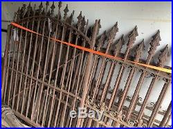 1860s-70s Victorian cast iron fence & two GATES over 80 ft w Posts 13 sections