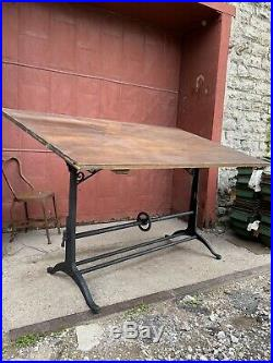 1920s Frederick Post Industrial Cranking Drafting Table Desk Study Office