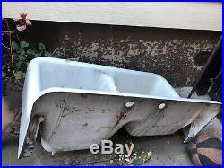1940s Vintage Double Basin Porcelain Over Cast Iron Sink