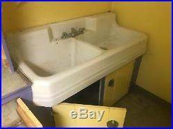 1940s Vintage Richmond Double Basin Porcelain Over Cast Iron Sink