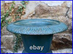 1950s French Teal Cast Iron Garden Urns
