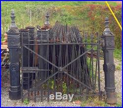 200' Vintage Fleur De Le Wrought Iron Fence with Cast Iron Posts Circa 1890s USA