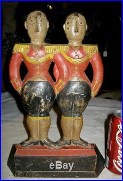 # 248 Antique Hubley Fish Double War Toy Art Soldier Cast Iron Footmen Doorstop