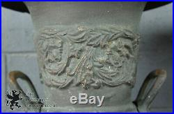 2 Antique Neoclassical Cast Iron Figural Garden Urns with Stand Planter Pair