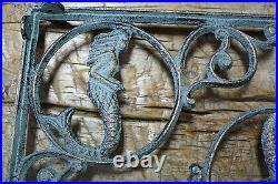 2 Cast Iron NAUTICAL MERMAID Brackets Garden Braces Shelf Bracket PIRATES Ship