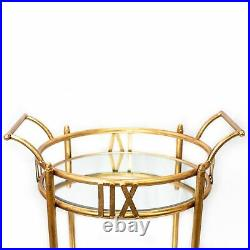 2-Tier Gold Rolling Bar Cart with Glass Mirror Shelves Vintage Style Round