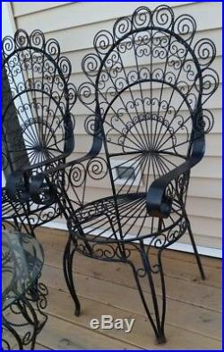 2 Vtg 1930's PEACOCK Iconic Twisted Scroll Wrought Iron CHAIRS & TABLE