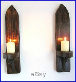 2x Large Gothic Arch Rustic Wood Wall Sconce Candle Holder Cast Iron Brackets