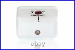 30 High Back Cast Iron Silver Gilded Porcelain Kitchen Wall Farm Sink Package