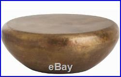 38 Round Drum Anthropologie Vendor Antique Brass Coffee Table New