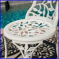 3PC Bistro Set Patio Table Chairs Ivory Furniture Balcony Antique VintageWhite