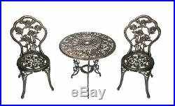 3Pc Cast Iron Bistro Set Rose Pattern Table Chairs Patio Deck Antique Bronze