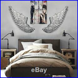 40'' Large Angel Wings Wall Mounted Hanging Antique Silver Iron Art Home Decor