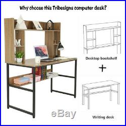 47in Computer Study Desk withHutch Bookshelf Brown Working Table Workstation Sturd