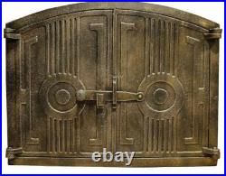 480 x 380mm Cast Iron Fire Door Clay Bread Oven Pizza Stove Smoke House Old Gold