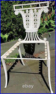 4 Antique Victorian cast iron garden chairs