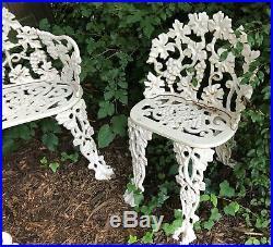 4 Pc Antique Victorian Cast Iron Grape Leaf Garden Seat & Bench 20th Century