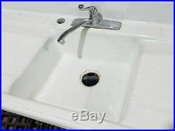 54 Richmond Cast Iron Single Basin Sink Double Drainboard Mid Century CAN SHIP