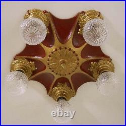640 Vintage 20s 30s Ceiling Light Lamp Iron Fixture 5 light part of set 1 0F 5