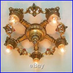 657b Vintage antique 30s Ceiling Light aRT Nouveau Polychrome Chandelier Virden