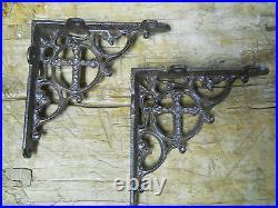 6 Cast Iron Antique Style CROSS Brackets, Garden Braces Shelf Bracket RUSTIC