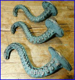 6 Cast Iron OCTOPUS TENTACLE Wall Hooks Bathroom Towel Hook Nautical Coat Key