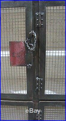 70 W Industrial design iron locker cabinet antique steel vintage spectacular
