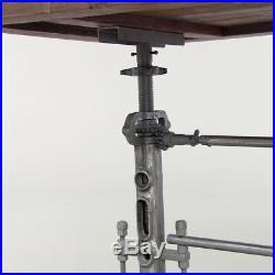82 L Industrial design dining crank table iron base legs antiqued teak wood top