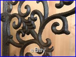 8 BROWN ANTIQUE-STYLE 9.5 SHELF BRACKETS CAST IRON rustic garden FANCY ORNATE