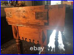 ANTIQUE FRENCH BUTCHER BLOCK TABLE 1850s 2 Bronze Steer Heads NOW 50% OFF