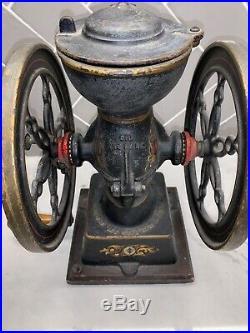 ANTIQUE LANDERS, FRARY & CLARK COFFEE GRINDER #20 Cast Iron two Wheel Grinder