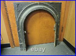 ANTIQUE LATE 1800'S CAST IRON ARCHED FIREPLACE INSERT COVER FRAME b