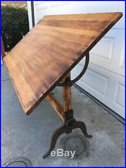 A. Lietz Antique Maple Drafting Table 1930s Art Deco Cast Iron Rustic