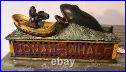 Antique19th C. ORIGINAL CAST IRON JONAH and THE WHALE MECHANICAL BANK, c. 1890