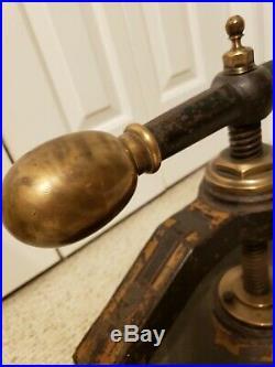 Antique 1860 Victorian Industrial Brass & Cast Iron Brass Ball Handle Book Press