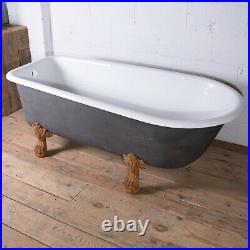 Antique 19th C. French Cast Iron Freestanding Lionfeet Bathtub Restored
