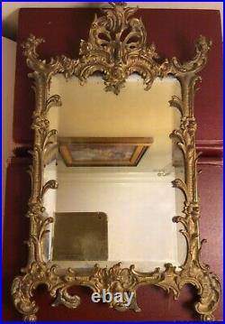 Antique 19th C. Ornate Rococo Gilded Cast Iron Easel Beveled Glass Mirror 15
