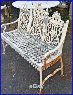 Antique 19th Century Peter Timmes Brooklyn, Ny Cast Iron Garden Bench 1878-1903