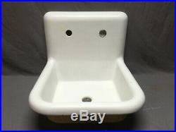 Antique 20 White Porcelain Cast Iron High Back Kitchen Farm Sink Vtg 19-20E