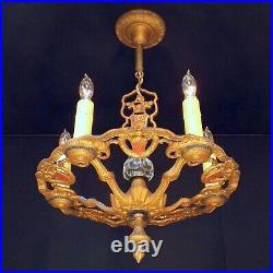 Antique 20s Spanish Revival Art Deco Cast Iron Chandelier 5 Candle Light Fixture