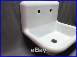 Antique 24 White Porcelain Cast Iron High Back Kitchen Farm Sink Vtg 179-20E