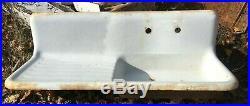 Antique 52 High Back Cast Iron White Porcelain Vtg Kitchen Farm Sink 382-19E