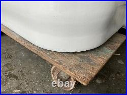 Antique 5' Cast Iron White Porcelain Alcove Tub Vtg Bath Right Hand Drain 05-21E