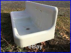 Antique 60 High Back Cast Iron White Porcelain Vtg Kitchen Farm Sink 381-19E