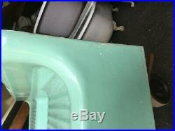Antique 80 Cast Iron Ming Jadeite Green Porcelain Kitchen Farm Sink Vtg 52-19E