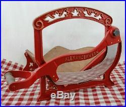 Antique ALEXANDERWERK Bread Slicer Cutter Cast-iron Cutting Machine red gold